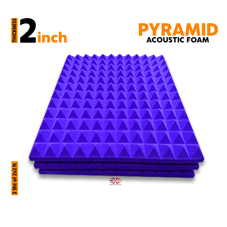 Pyramid Acoustic Foam Panel, Studio Purple, 2'x2' Set of 3 pcs