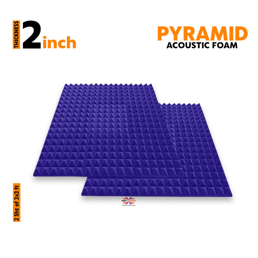 Pyramid Acoustic Foam Panel, Studio Purple, 3'x3' Set of 2 pcs