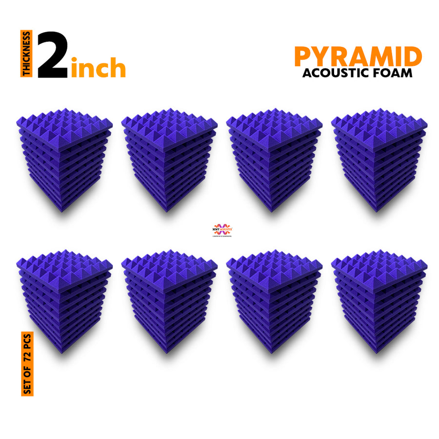 Pyramid Acoustic Foam Panel, Studio Purple, Set of 72 pcs