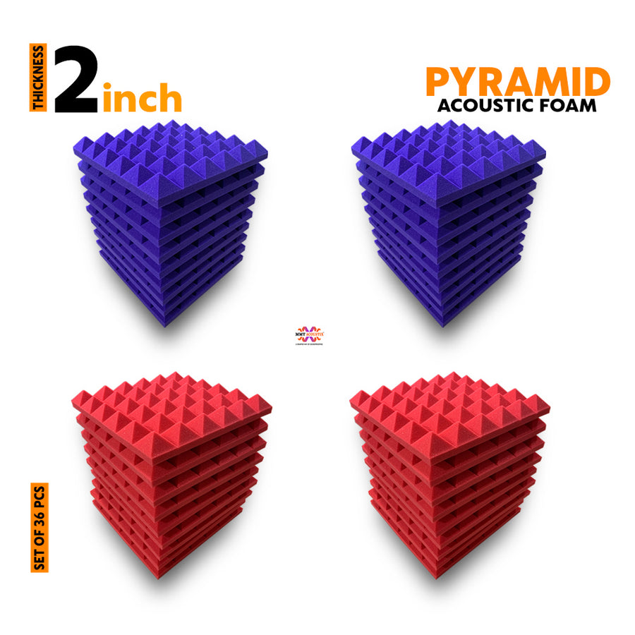Pyramid Acoustic Foam Panel, (Purple + Red), Set of 36 pcs