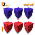 Pyramid Acoustic Foam Panel, (Purple + Red), Set of 54 pcs