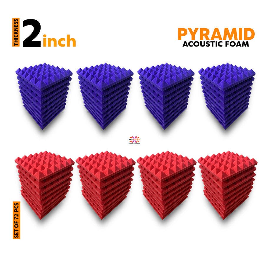 Pyramid Acoustic Foam Panel, (Purple + Red), Set of 72 pcs