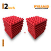 Pyramid Acoustic Foam Panel, Flame Red, Set of 18 pcs