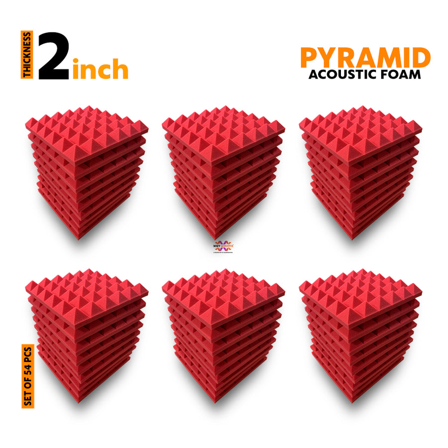 Pyramid Acoustic Foam Panel, Flame Red, Set of 54 pcs