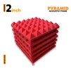 Pyramid Acoustic Foam Panel, Flame Red, Set of 6 pcs
