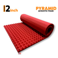 Pyramid Acoustic Foam Panel, Flame Red, 6'x3'