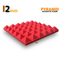 Pyramid Acoustic Foam Panel, Flame Red, 1 pc