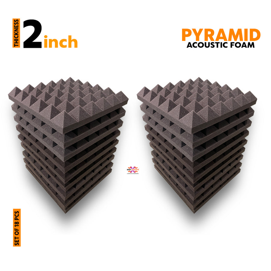Pyramid Acoustic Foam Panel, Wine, Set of 18 pcs