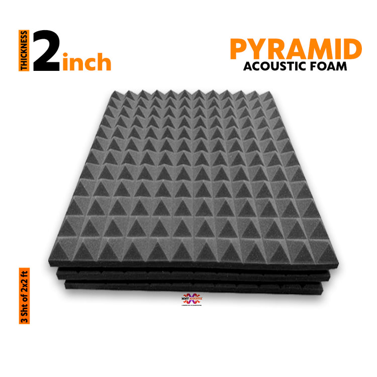 Pyramid Acoustic Foam Panel, Pro Charcoal, 2'x2' Set of 3 pcs