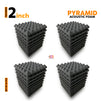 Pyramid Acoustic Foam Panel, Pro Charcoal, Set of 36 pcs