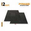 Pyramid Acoustic Foam Panel, Pro Charcoal, 3'x3' Set of 2 pcs