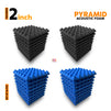 Pyramid Acoustic Foam Panel, (Black + Blue), Set of 36 pcs