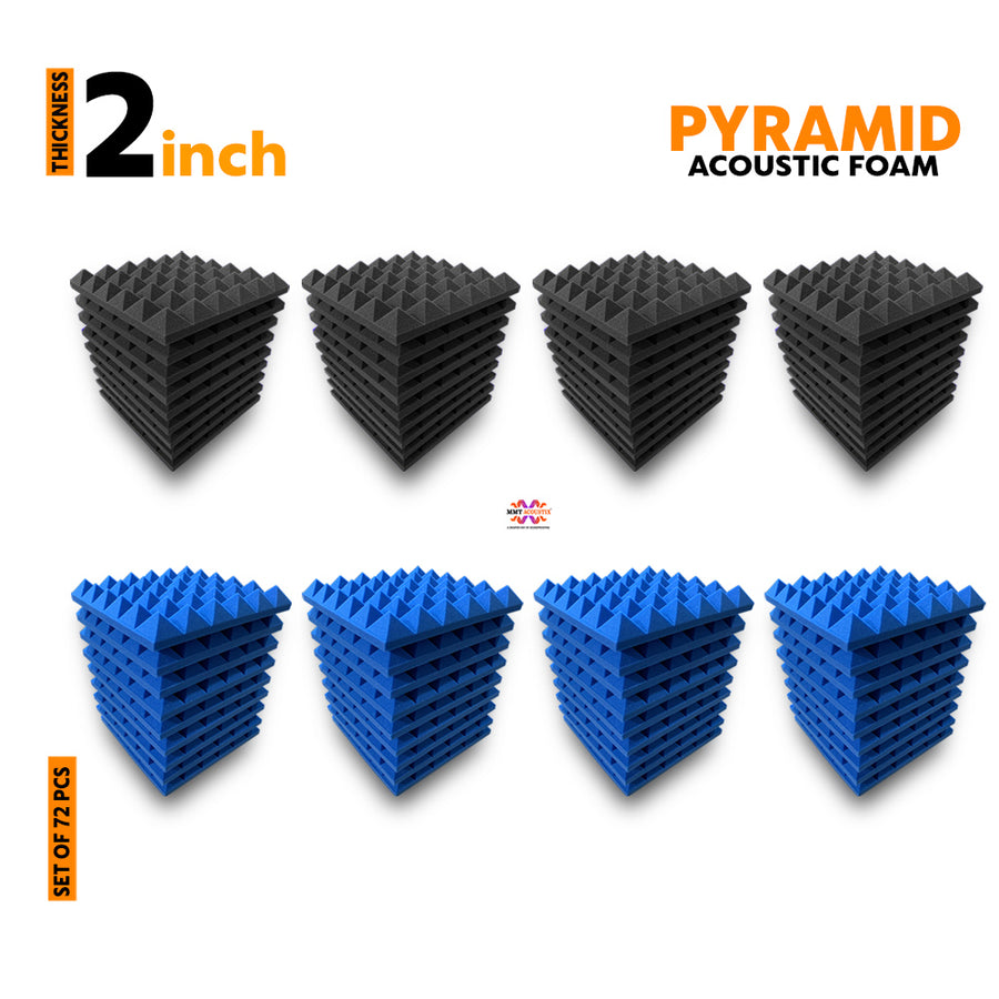 Pyramid Acoustic Foam Panel, (Black + Blue), Set of 72 pcs