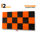 Pyramid Acoustic Foam Panel, (Black + Orange), Set of 18 pcs