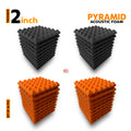 Pyramid Acoustic Foam Panel, (Black + Orange), Set of 36 pcs