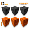Pyramid Acoustic Foam Panel, (Black + Orange), Set of 54 pcs