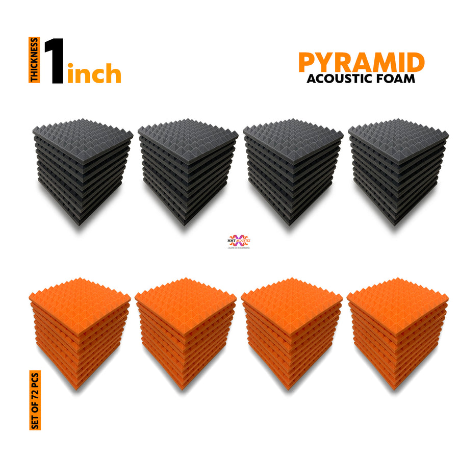 "Pyramid Acoustic Foam Panel, (Black + Orange), 1"" Set of 72 pcs"