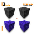 Pyramid Acoustic Foam Panel, (Black + Purple), Set of 36 pcs