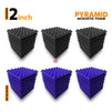 Pyramid Acoustic Foam Panel, (Black + Purple), Set of 54 pcs