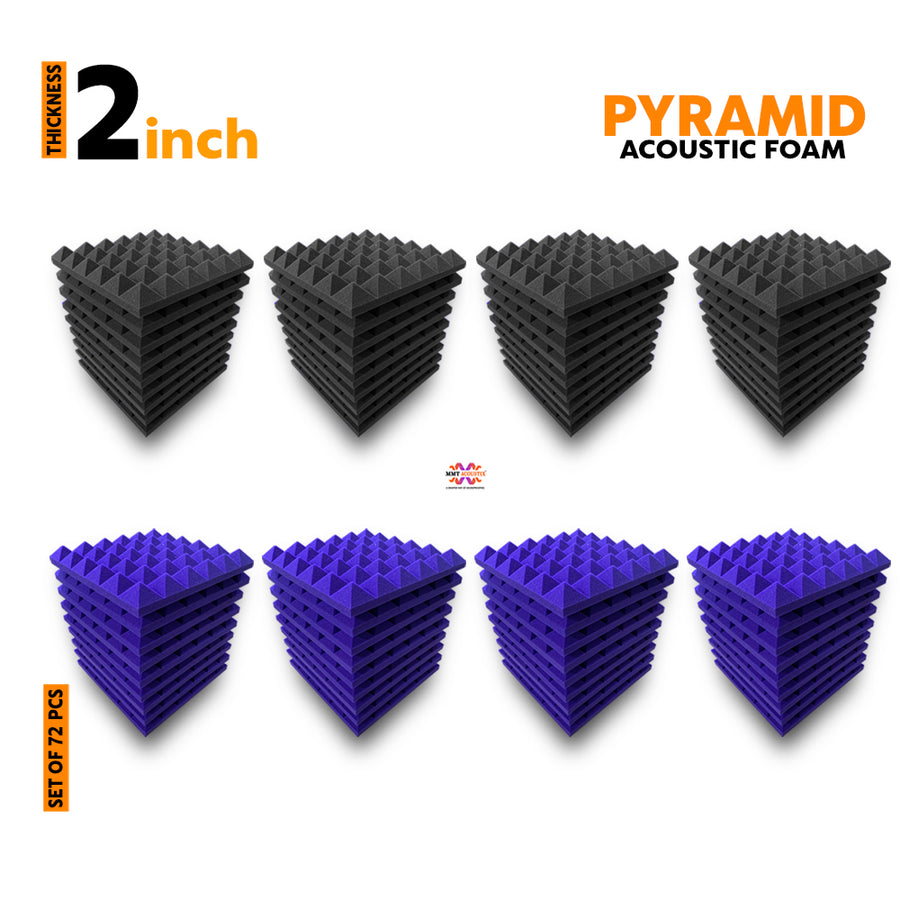 Pyramid Acoustic Foam Panel, (Black + Purple), Set of 72 pcs