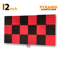 Pyramid Acoustic Foam Panel, (Black + Red), Set of 18 pcs