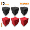 Pyramid Acoustic Foam Panel, (Black + Red), Set of 54 pcs