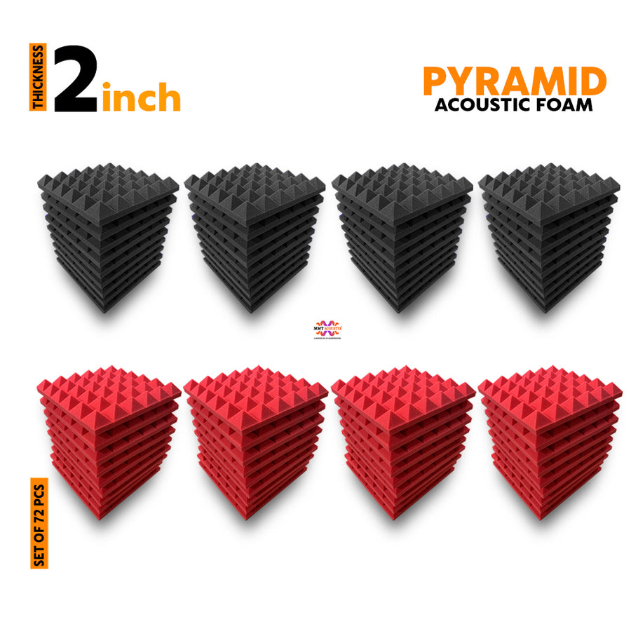 Pyramid Acoustic Foam Panel, (Black + Red), Set of 72 pcs