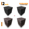 Pyramid Acoustic Foam Panel, (Black + Wine), Set of 36 pcs