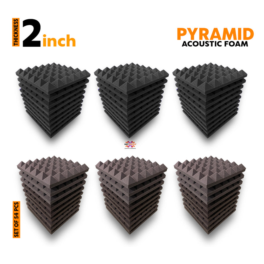 Pyramid Acoustic Foam Panel, (Black + Wine), Set of 54 pcs