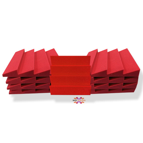 T - Wedge Acoustic Foam Panel, Flame Red, Set of 9 pcs