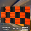 T - Wedge Acoustic Foam Panel, (Black + Orange), Set of 18 pcs