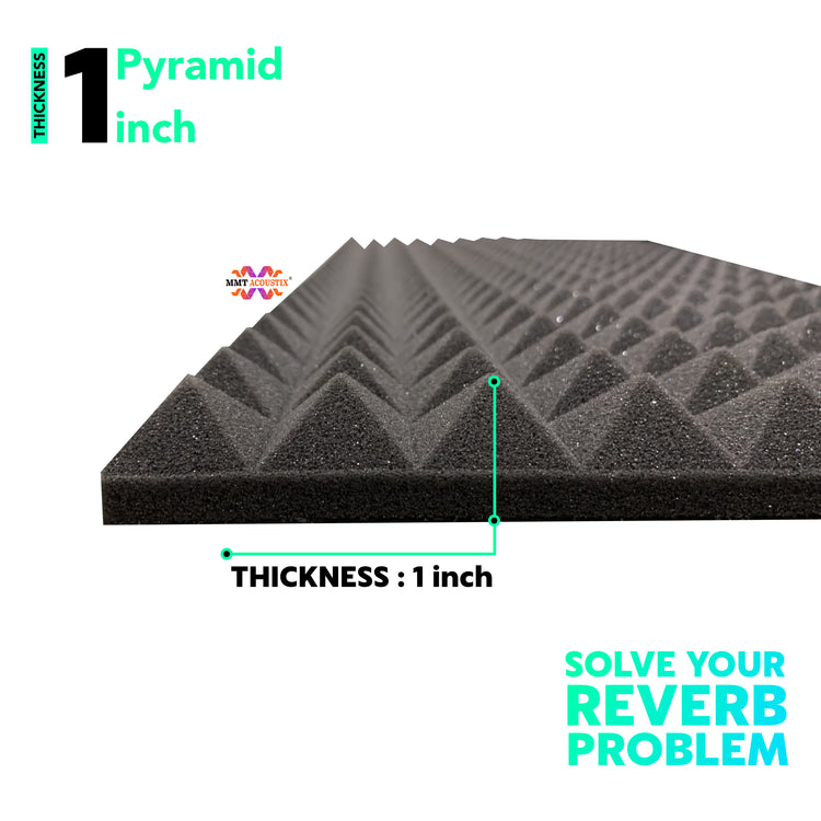 "Pyramid Acoustic Foam Panel, Pro Charcoal, 1"" Set of 9 pcs"