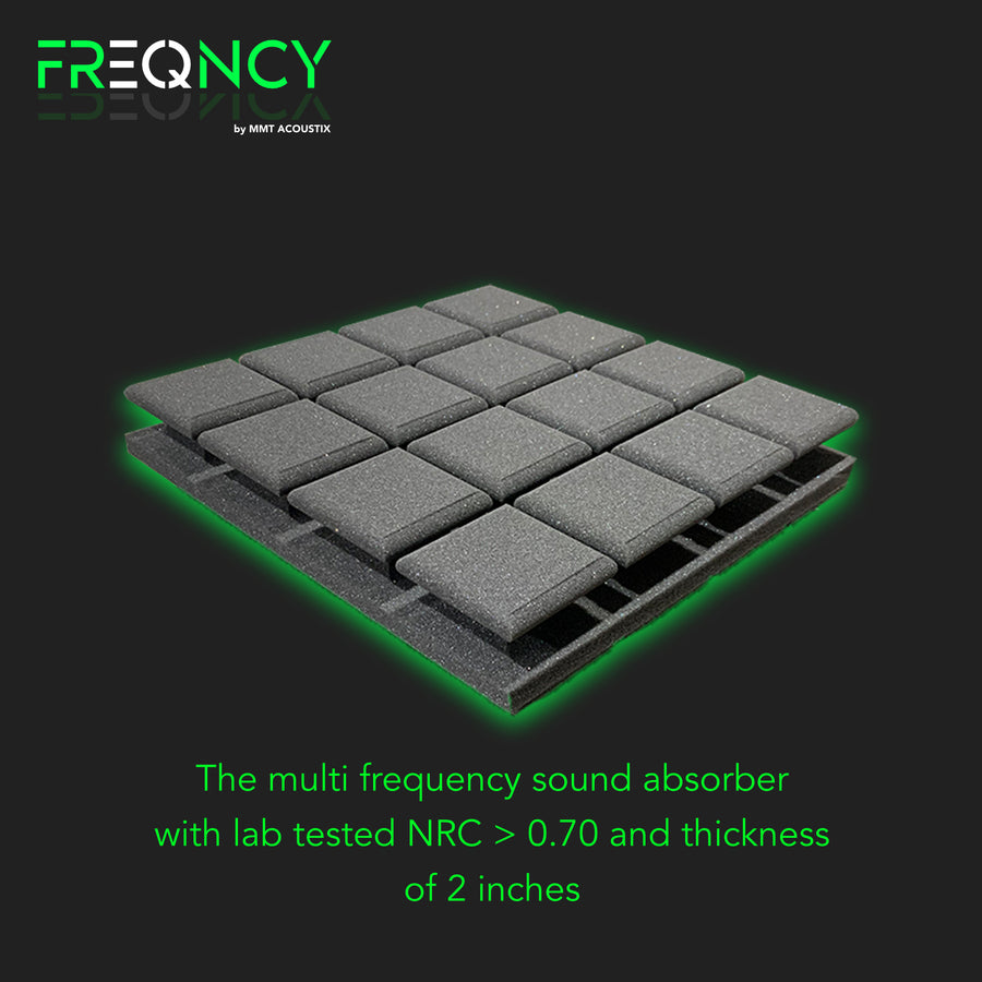 "FREQNCY® by MMT Acoustix® 1x1 ft, 2"" Turbo Soundproofing Acoustic Foam (Professional Charcoal) - Set of 18"
