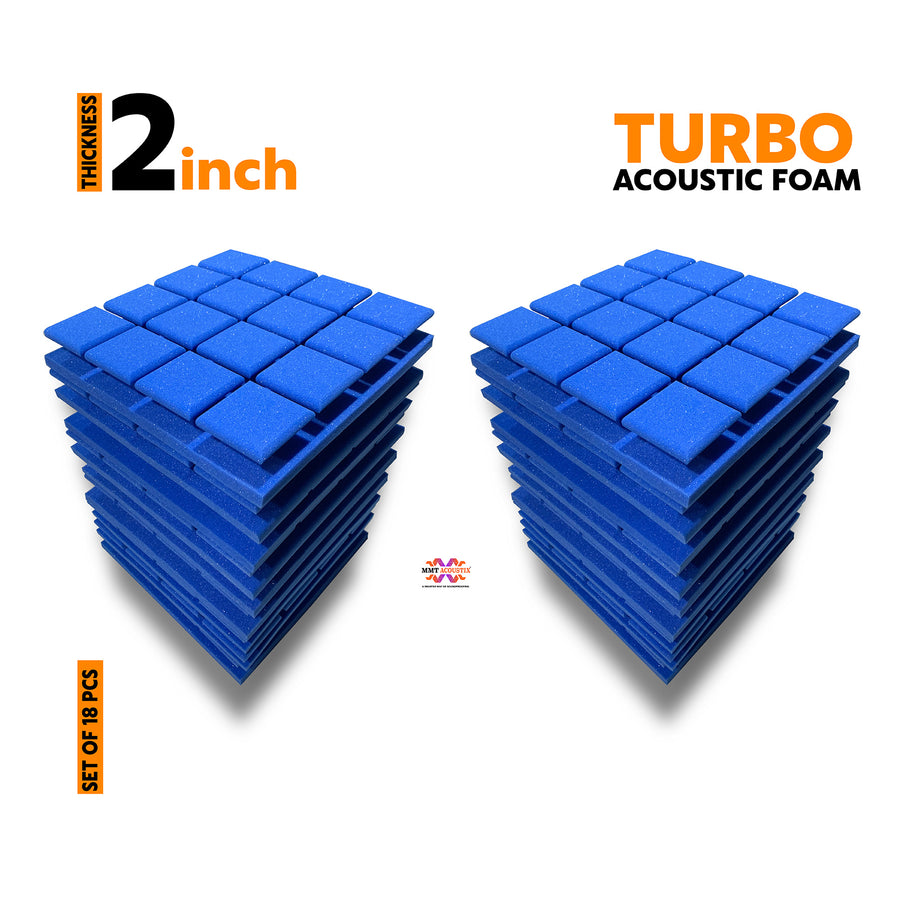 Turbo Acoustic Foam Panel, European Blue, Set of 18 pcs