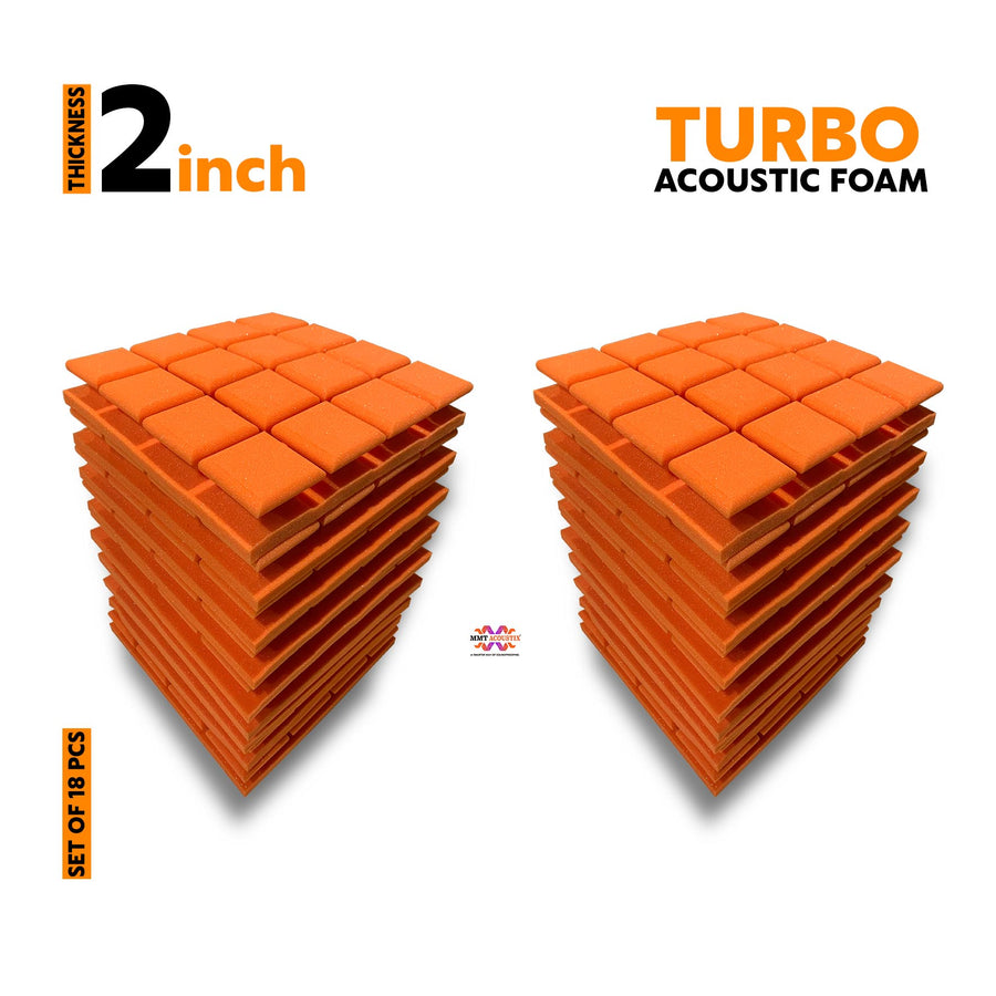 Turbo Acoustic Foam Panel, MMT Orange, Set of 18 pcs