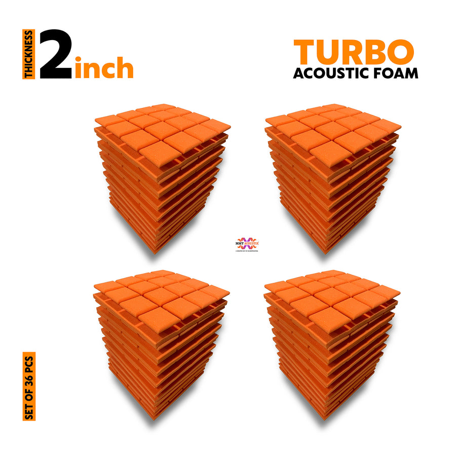 Turbo Acoustic Foam Panel, MMT Orange, Set of 36 pcs