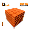 Turbo Acoustic Foam Panel, MMT Orange, Set of 6 pcs