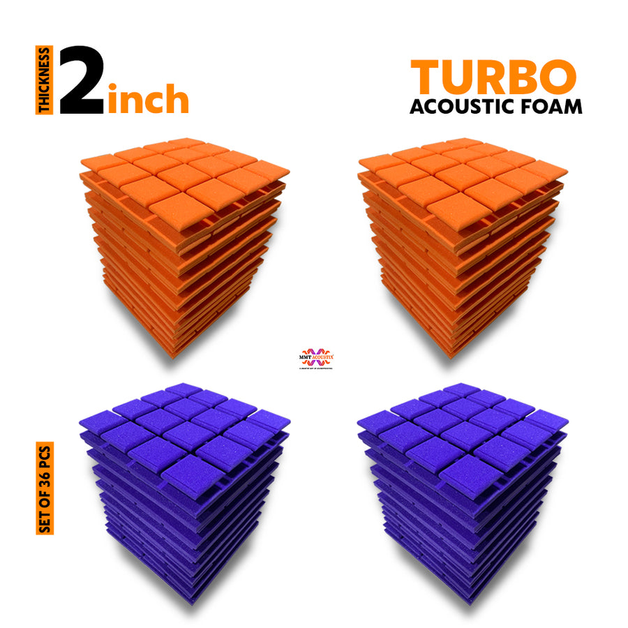 Turbo Acoustic Foam Panel, (Orange + Purple), Set of 36 pcs