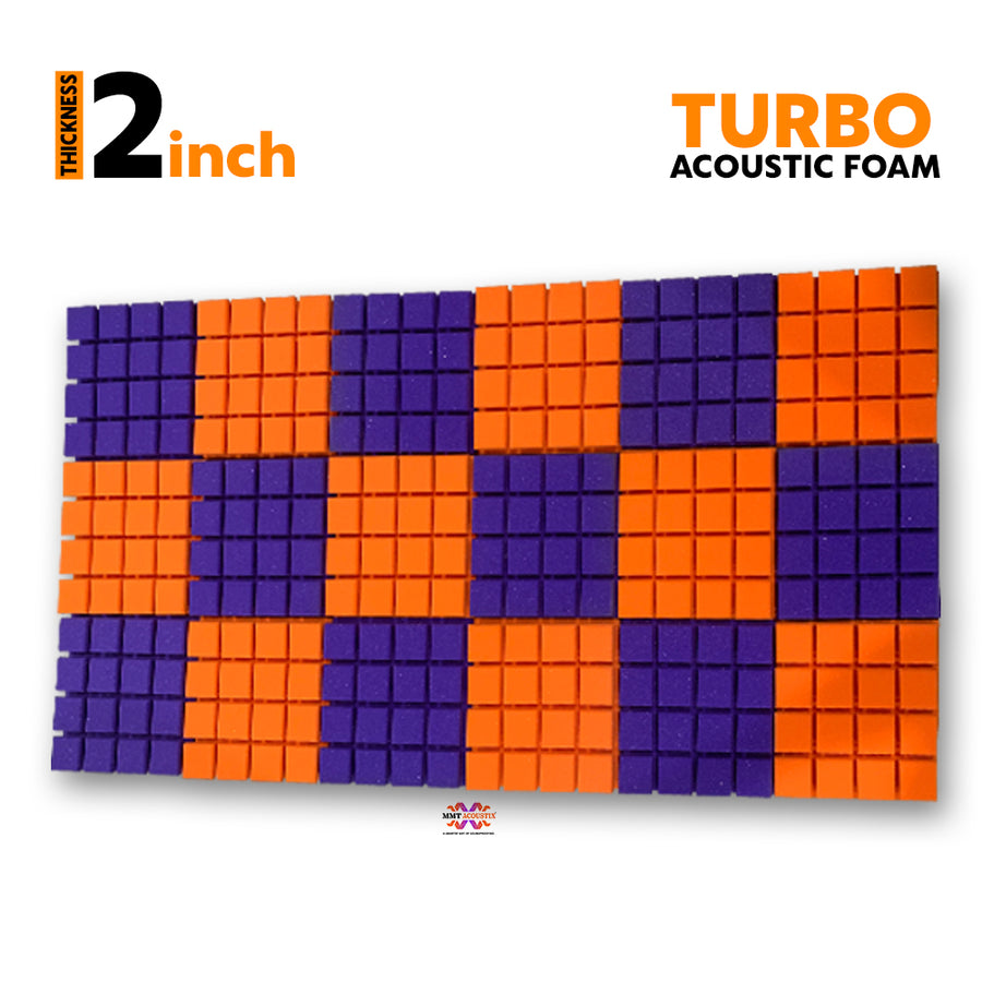 Turbo Acoustic Foam Panel, (Orange +Purple), Set of 18 pcs