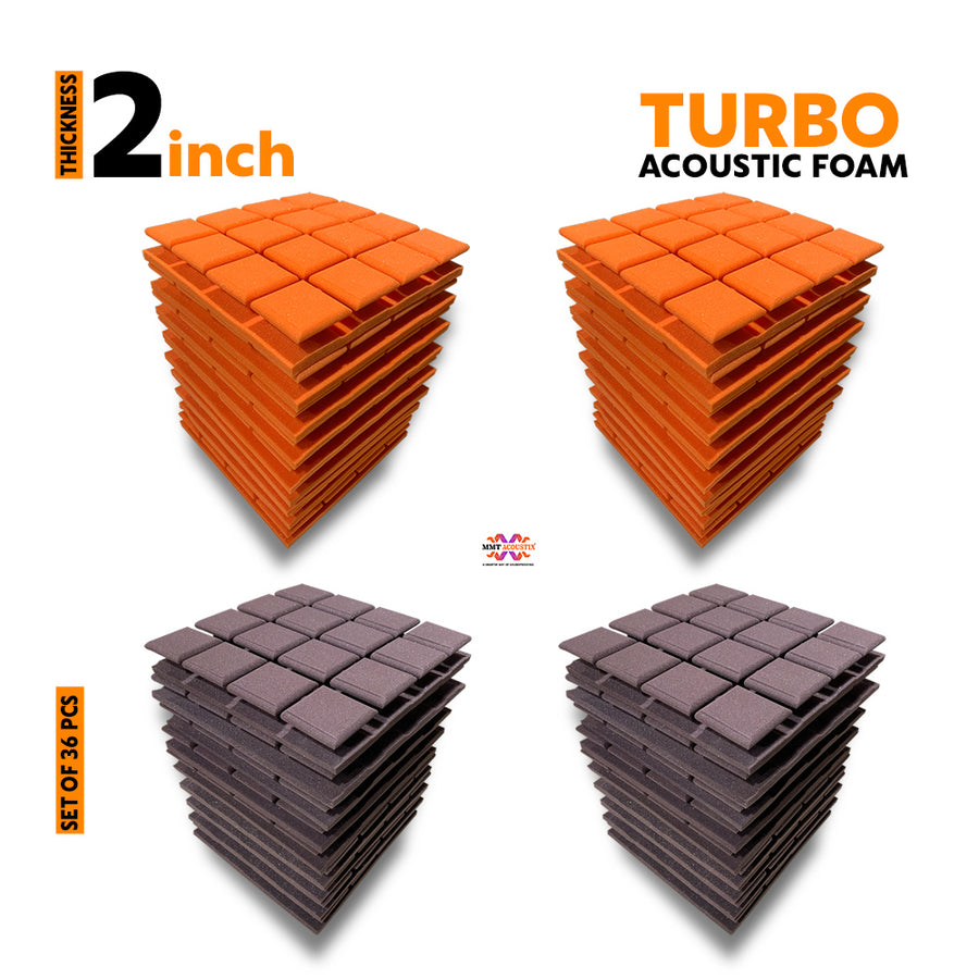 Turbo Acoustic Foam Panel, (Orange + Wine), Set of 36 pcs
