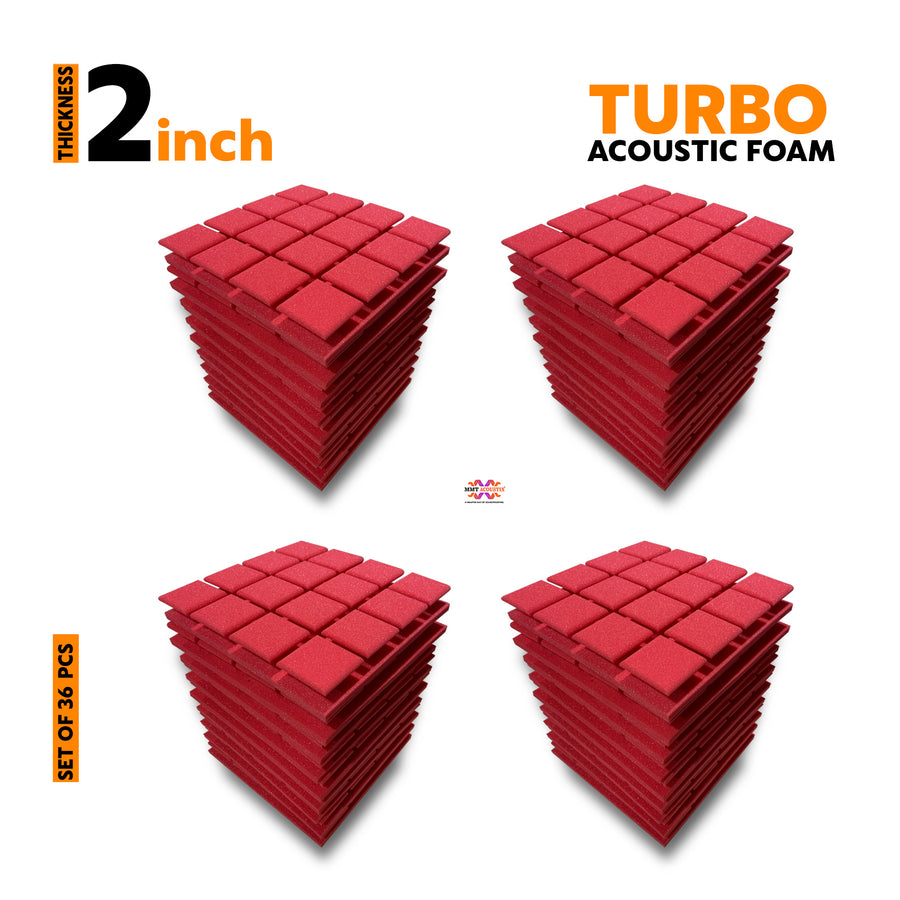 Turbo Acoustic Foam Panel, Flame Red, Set of 36 pcs