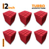 Turbo Acoustic Foam Panel, Flame Red, Set of 54 pcs