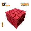 Turbo Acoustic Foam Panel, Flame Red, Set of 6 pcs