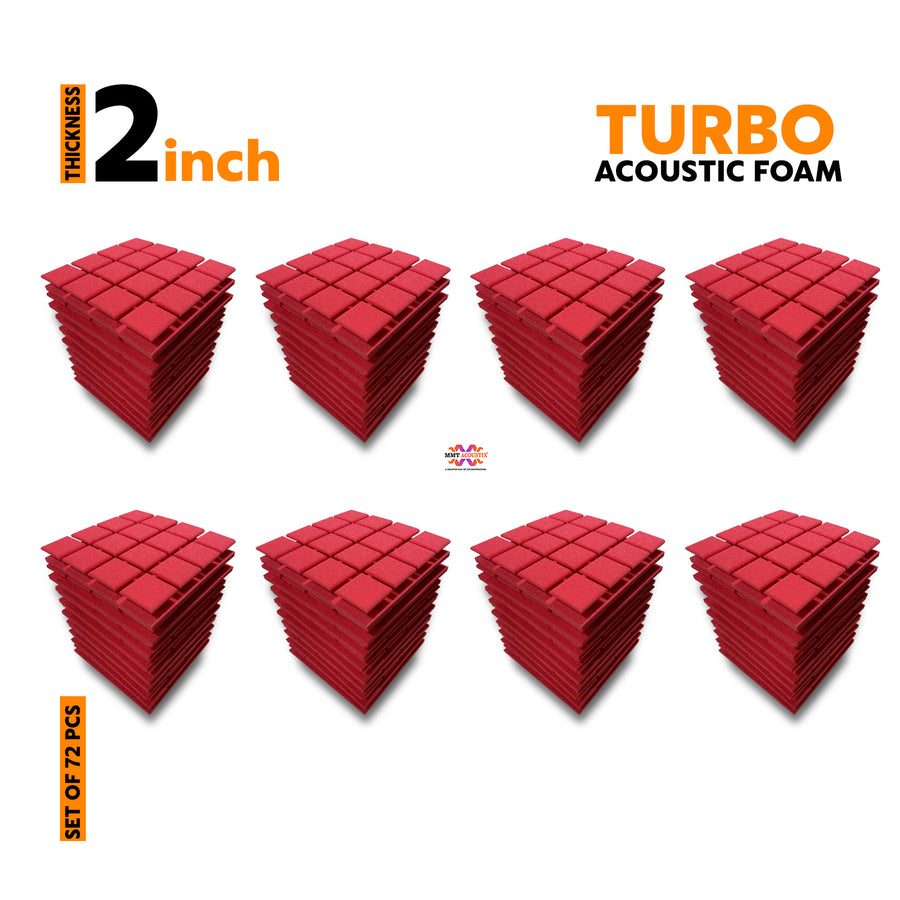 Turbo Acoustic Foam Panel, Flame Red, Set of 72 pcs