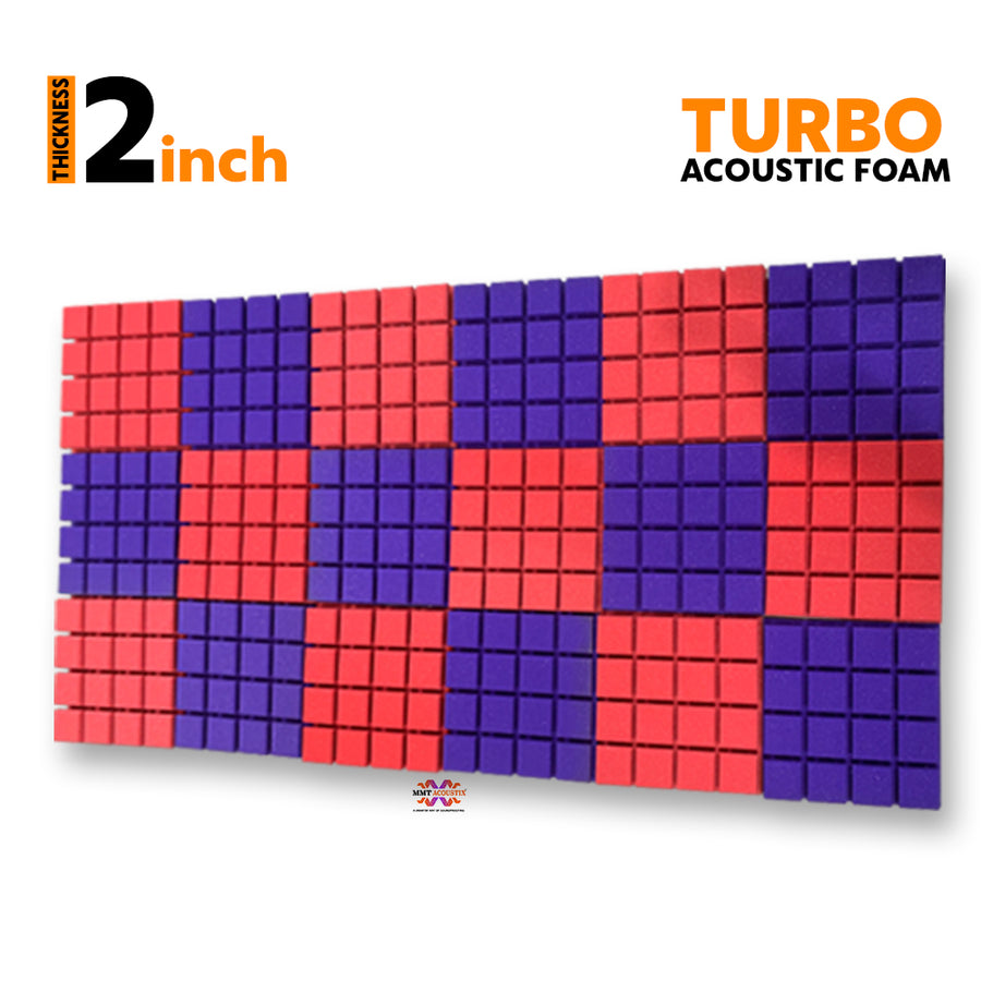 Turbo Acoustic Foam Panel, (Red + Purple), Set of 18 pcs