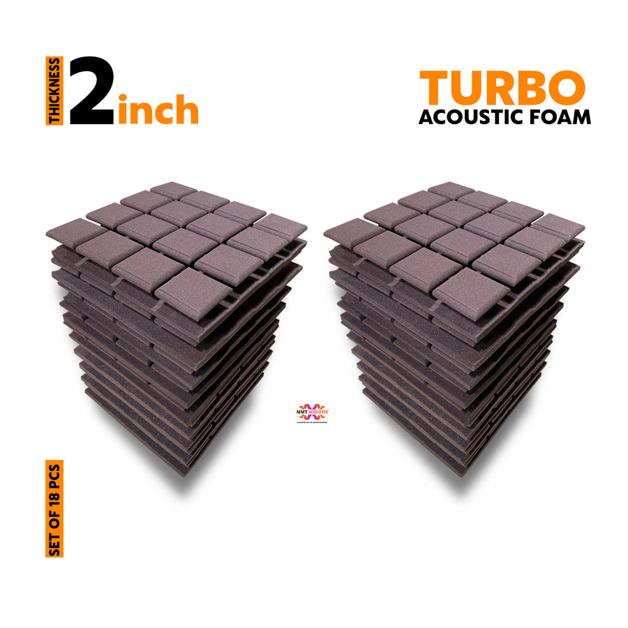 Turbo Acoustic Foam Panel, Wine, Set of 18 pcs