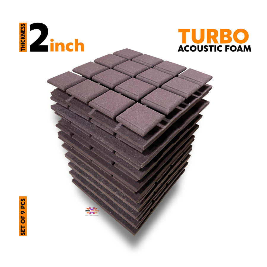 Turbo Acoustic Foam Panel, Wine, Set of 9 pcs