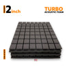 Turbo Acoustic Foam Panel, Pro Charcoal, 2'x2' Set of 3 pcs