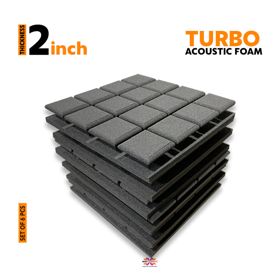 Turbo Acoustic Foam Panel, Pro Charcoal, Set of 6 pcs