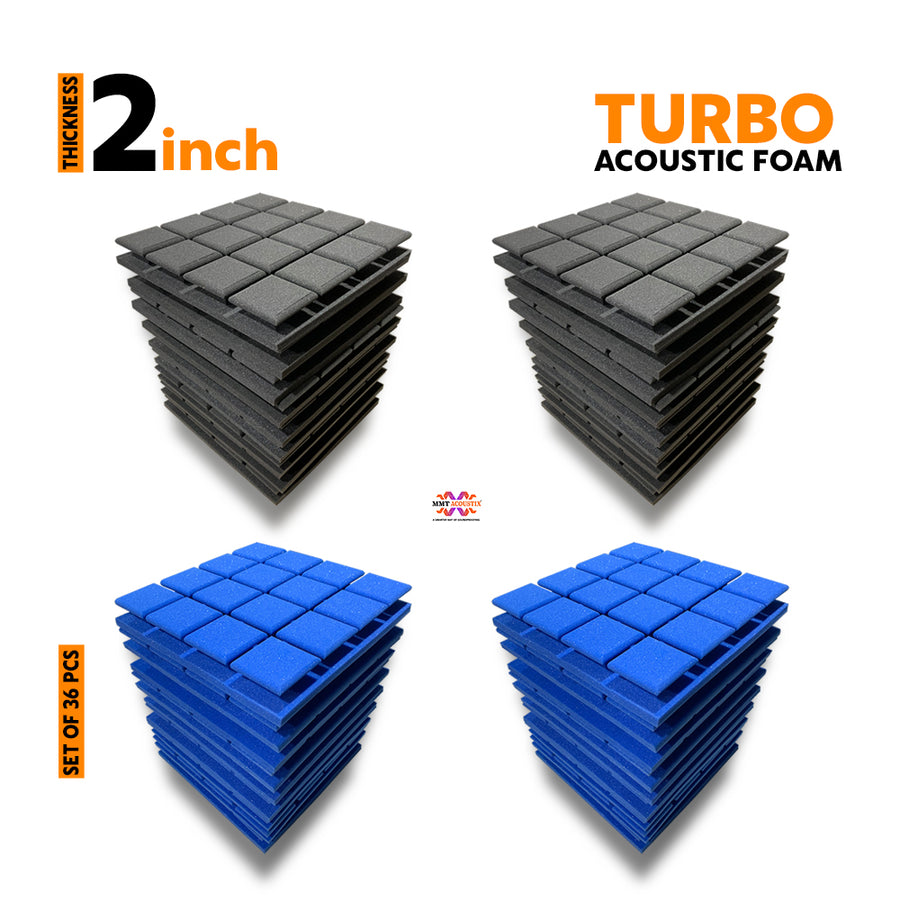 Turbo Acoustic Foam Panel, (Black + Blue), Set of 36 pcs